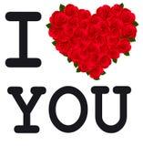Сердце с розами я тебя люблю. Вектор. Стоковые Изображения RF