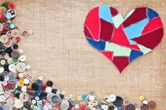 сердце ткани предпосылки scraps текстура Стоковое Изображение RF