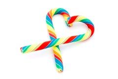 сердце тросточки конфеты над белизной Стоковые Фотографии RF
