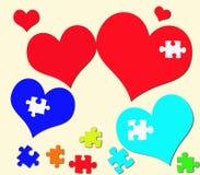 Сердце цветастое и головоломки Стоковая Фотография