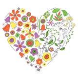 Сердце цветков и заводов на белой предпосылке иллюстрация штока