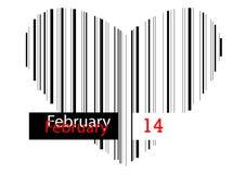 Сердце штрихкода - 14-ое февраля Стоковая Фотография RF