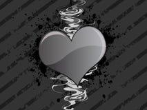 сердце grunge предпосылки серое Стоковое Фото