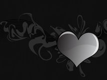 сердце grunge предпосылки черное Стоковая Фотография