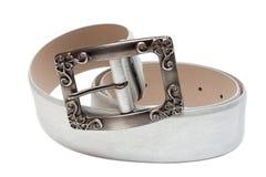 серебристое пояса женственное кожаное Стоковое Фото