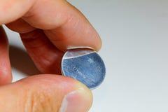 Серебряная батарея клетки кнопки Стоковое Изображение