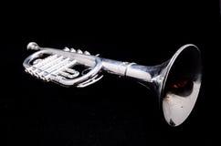 Серебряная винтажная труба игрушки Стоковая Фотография