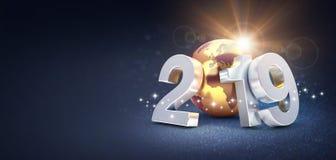 Серебряная дата 2019 Нового Года составленная с землей планеты золота, солнце светя позади, на блестящей черной предпосылке - 3D иллюстрация вектора