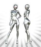 Серебряная женщина киборга Стоковые Изображения