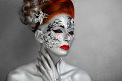 Серебряная женщина Стоковая Фотография