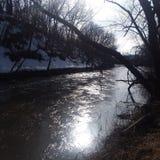 Серебряная зима реки стоковые изображения rf
