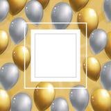 Серебряная и золотая предпосылка воздушных шаров Стоковое Фото