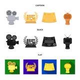 серебряная камера Бронзовый приз в форме ТВ и другие типы призов Награда кино, значки собрания sset в шарже Стоковое фото RF