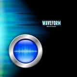 Серебряная кнопка с знаком звуковой войны и приполюсным светом Стоковое фото RF