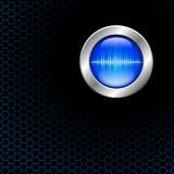Серебряная кнопка с знаком звуковой войны Стоковые Фотографии RF