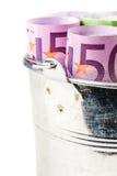 Серебряная корзина вполне больших банкнот евро Стоковые Фотографии RF