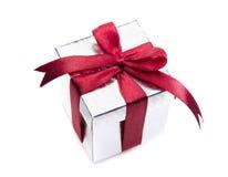 Серебряная коробка подарка Стоковое Изображение