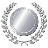 Серебряная медаль на белой предпосылке Стоковое Фото