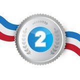 Серебряная медаль, награда Стоковое Изображение