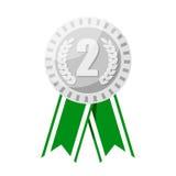 Серебряная медаль для иллюстрации вектора второго места призовой Стоковые Изображения