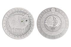 Серебряная монета Беларуси Aries стоковое изображение