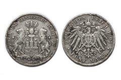 Серебряная монета 5 Марк 1907 стоковая фотография