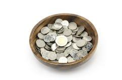 Серебряная монета на белизне Стоковые Фото