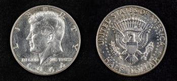 Серебряная монетка полдоллара Джон Фицджеральд Кеннеди Стоковые Фотографии RF