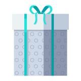 Серебряная подарочная коробка с зеленой лентой Стоковое Фото
