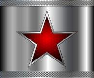 Серебряная предпосылка металла с красной звездой внутрь Стоковые Изображения