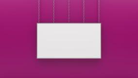 Серебряная рамка фото на розовой стене 3d представляет Стоковая Фотография RF