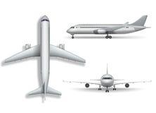 Серебряная реалистическая вверх изолированная насмешка самолета Воздушные судн, иллюстрация авиалайнера 3d на белой предпосылке К иллюстрация вектора