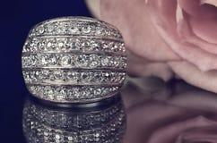Серебряная роза кольца и пинка на черном зеркале предпосылки Стоковые Изображения