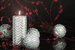 Серебряная свеча 2 рождества Стоковые Изображения