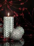 Серебряная свеча рождества Стоковое Изображение RF