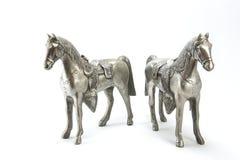 Серебряная статуя лошадей Стоковая Фотография RF