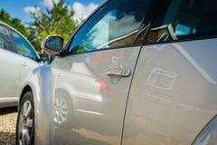 Серебряная сторона автомобиля Стоковое Изображение