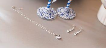 Серебряная цепь ювелирных изделий с шкентелем и серьгами Стоковые Фото