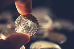 Серебряное американское полдоллара Стоковое фото RF