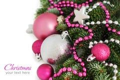 Серебряное и розовое рождество орнаментирует границу Стоковая Фотография