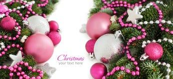 Серебряное и розовое рождество орнаментирует границу Стоковая Фотография RF