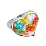 Серебряное кольцо в форме сердца Стоковое Изображение RF