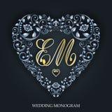 Серебряное сердце Приглашения свадьбы Валентайн дня s вектор иллюстрация штока