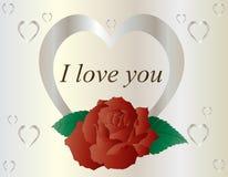 Серебряное сердце с красной розой иллюстрация вектора