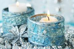 Серебряное украшение рождества с свечой Стоковая Фотография RF