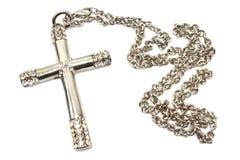 Серебряное христианское перекрестное изолированное ожерелье Стоковые Изображения RF