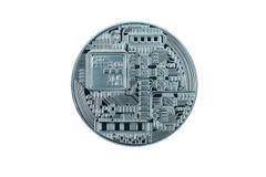Серебряное bitcoin на белом пути background+clipping Стоковые Фотографии RF