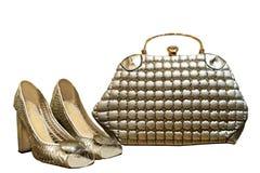 Серебряные аксессуары, изолят на белой предпосылке, сумка b ` s женщин Стоковое фото RF