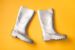 Серебряные ботинки дождя на апельсине Стоковое Фото