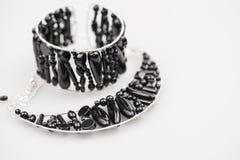 Серебряные драгоценности с камнями оникса Стоковое Изображение RF